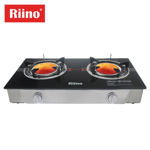 Riino Infrared Tempered Glass 2 Burners Table Top Gas Stove