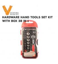 38 in 1 Hardware Repair Hand Tools Set with Box (Ratchet Handle,Bits,etc)