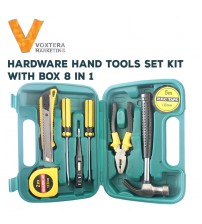 8 in 1 Hardware Hand Tool Sets Kit With Box (Screwdrivers, Hammer,etc)
