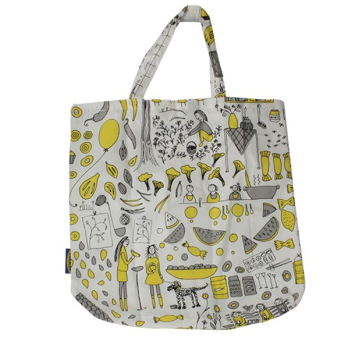 Ikea Unisex 100% Cotton Pocket TREBLAD Bag (Black/Yellow)