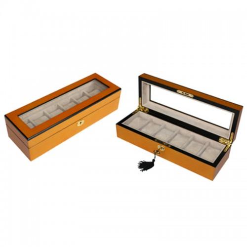 Luxury 6 Slots Oak Wooden Watch Display Box with Key Lock