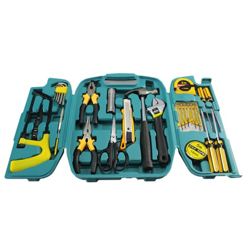 Hardware Hand Tools Set Kit with Box 27 in 1 (Plier Screwdriver Saw Torch)