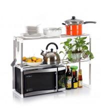 2-Tier Stainless Steel Rack Microwave/Shoe/Kitchen Rack