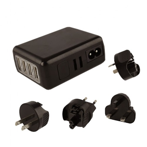 4 USB Power Adapter Travel Charger [6A and 2.1A] 4 Port 30W