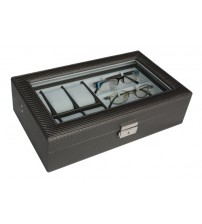 Carbon Fiber Watch & Spectacles Storage Box with Key Lock
