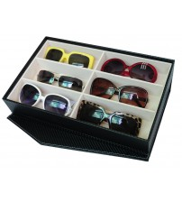 6 Slots PU Leather Sunglasses / Spectacular Storage Box (Black)