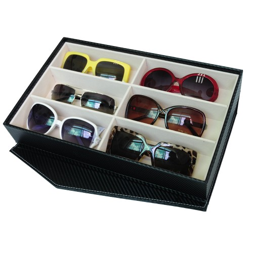 6 Slots PU Leather Sunglasses / Spectacular Storage Box (Black)