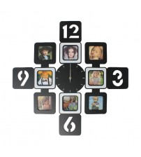 Fashion Wooden 8 Pictures Photo Frame Silent Wall Clock