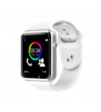 AirGear AW1 Smart Watch Silver Aluminium Case with Black Sport Band