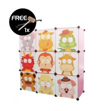 LivingCabinet Wardrobe 9 Cubes Animal Zodiac DIY Cabinet Hanger