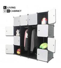 LivingCabinet 16 Cubes Dark Veins DIY Cabinet Wardrobe Rack