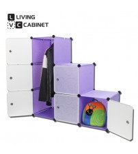 LivingCabinet 6 Cubes Dark Veins DIY Cabinet Wardrobe Rack