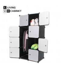 LivingCabinet 8 Cubes Dark Veins DIY Cabinet Wardrobe Rack