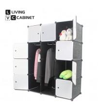 LivingCabinet 12 Cubes Dark Veins DIY Cabinet Wardrobe Rack