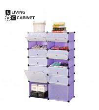 LivingCabinet 12+2 Cubes Multifunctional Dark Veins DIY Cabinet Rack