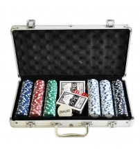 Modern Metal Briefcase Poker Set with 300 Chips ( Silver )