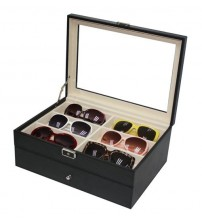 PU Leather Sunglasses / Spectacular Storage Box 12 Slots (Carbon Black)