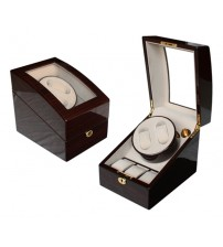 High Gloss Wooden Watch Winder 2+3 with Key Lock Ebony