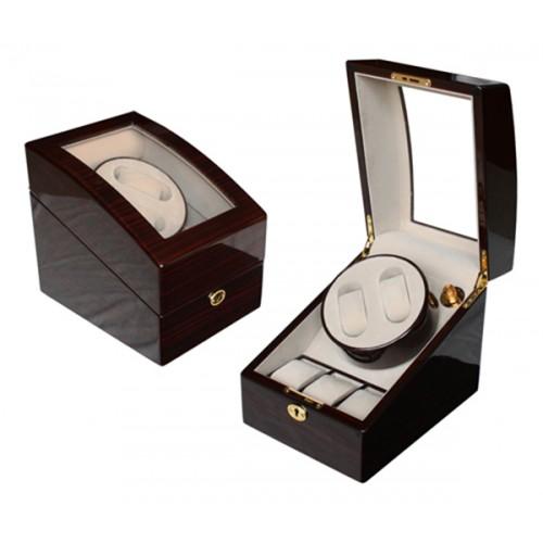 High Gloss Wooden Watch Winder 2+3 with Key Lock Ebony