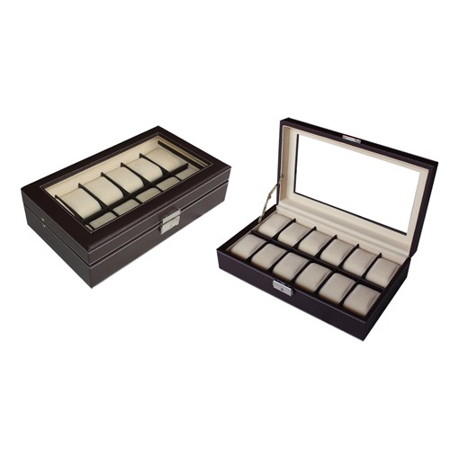 12 Slots PU Leather Watch Display Box with Key Lock (Dark Brown)