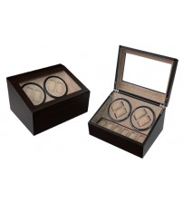 Luxury 4+6 Ebony Wooden PU Leather Watch Winder (Dark Brown)