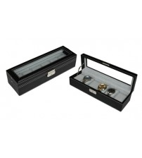 6 Slots Black PU Leather Watch Display Box with Key Lock (Black)