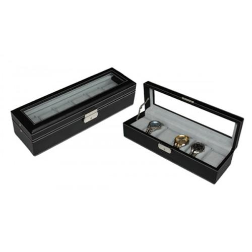6 Slots Black PU Leather Watch Display Box with Key Lock (Black)