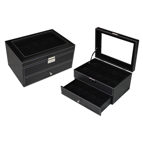 Carbon Fiber Watch Leather Storage Box PU Leather - 20 slots