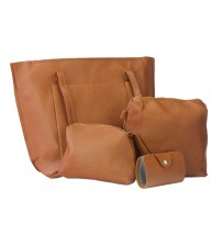 Women 4 in 1 Stylish PU Leather Bag Pouch Set (Brown)